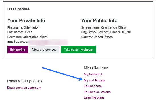 profile details - view certificactes link highlighted