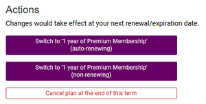 Action choices for Premium Membership